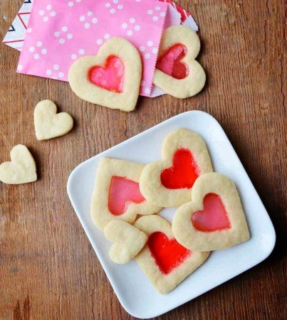 Valentine's Day Stained Glass Cookies