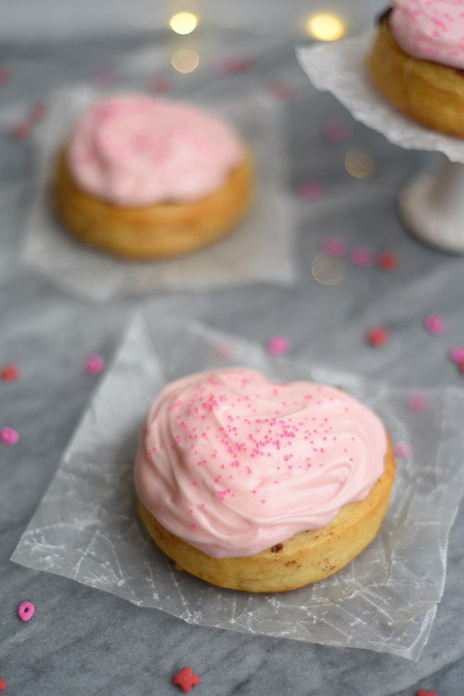 Heart-shaped Cinnamon Rolls with Cream Cheese Icing - Try these for an easy Valentine's Day breakfast!