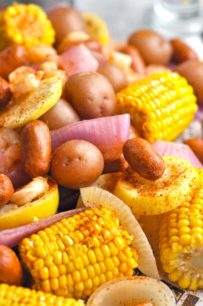 Weeknight Shrimp Boil with corn, sausage and potatoes