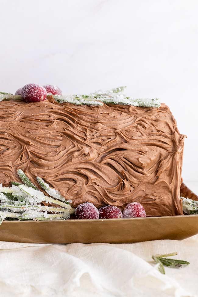 Yule Log Cake with bark icing